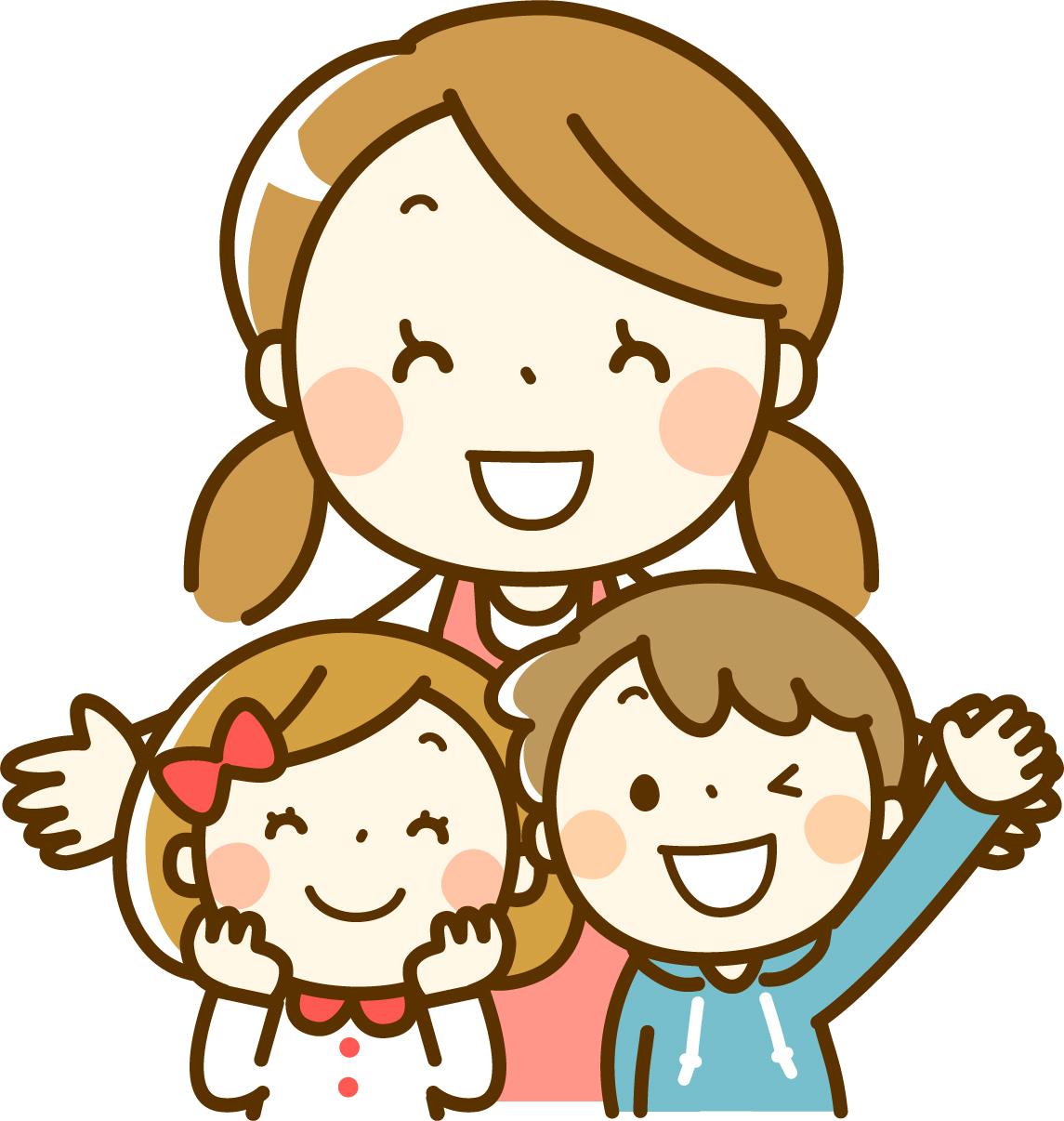 幼稚園の先生とお友達と一緒
